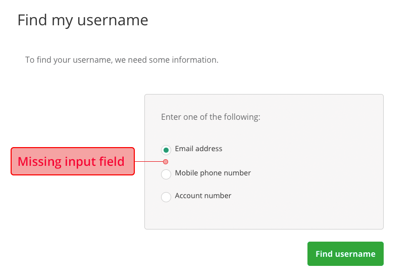 Missing input field
